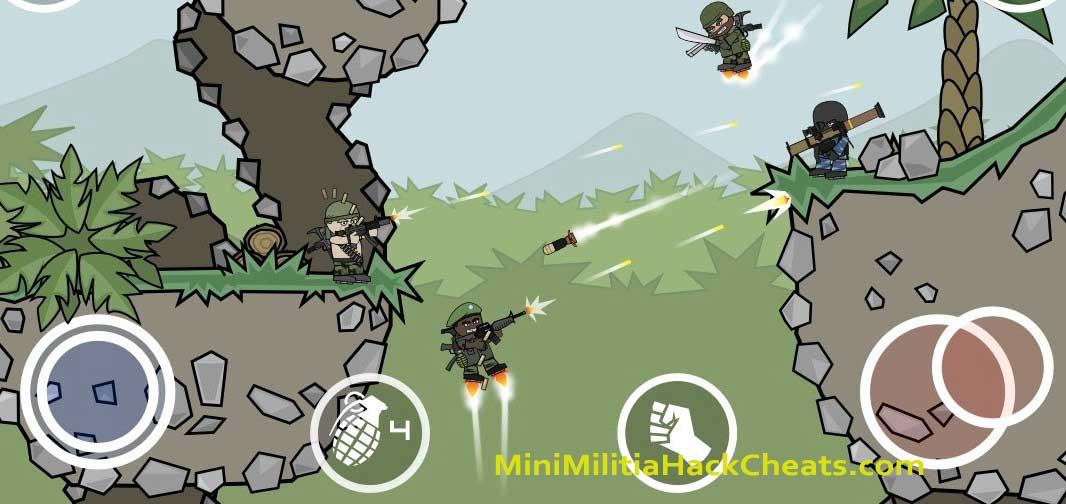 mini-militia-Shot-Gun-and-Rocket-launcher-as-dual-weapons-in-Outpost-Map Mini Militia Double Gun – Unlimited Ammo MOD with Dual Wield Weapons