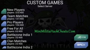 Mini militia Server list in Custom List